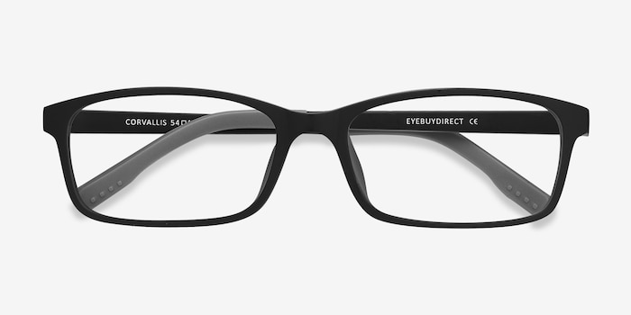 Corvallis Black Plastic Eyeglass Frames from EyeBuyDirect, Closed View