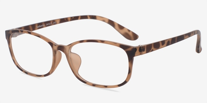 Sutherlin Tortoise Plastic Eyeglass Frames from EyeBuyDirect, Angle View