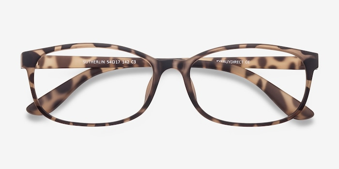 Sutherlin Tortoise Plastic Eyeglass Frames from EyeBuyDirect, Closed View