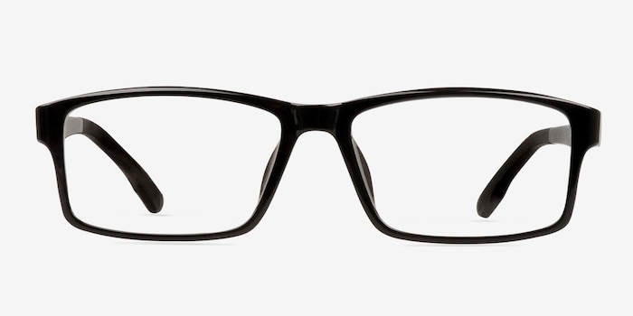 Bandon Black Plastic Eyeglass Frames from EyeBuyDirect, Front View