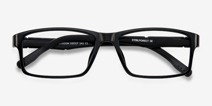 Bandon Black Plastic Eyeglass Frames from EyeBuyDirect, Closed View