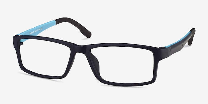 Bandon Navy Plastic Eyeglass Frames from EyeBuyDirect, Angle View