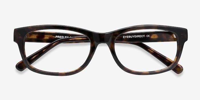 Presley Marron Acétate Montures de Lunettes d'EyeBuyDirect, Vue Rapprochée