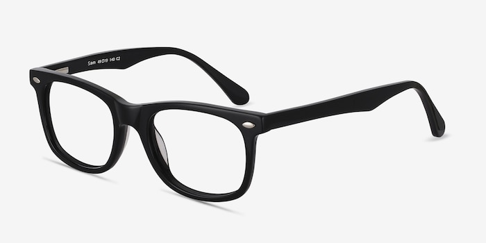 Sam Black Acetate Eyeglass Frames from EyeBuyDirect, Angle View