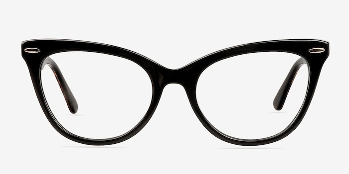 Anika Black Acetate Eyeglass Frames from EyeBuyDirect, Front View