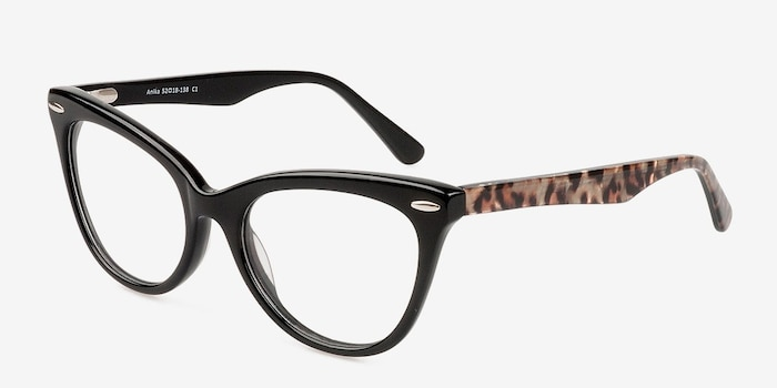 Anika Black Acetate Eyeglass Frames from EyeBuyDirect, Angle View