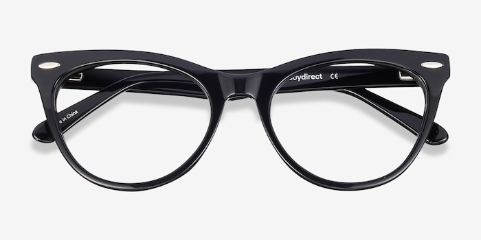 Anika Black Acetate Eyeglass Frames from EyeBuyDirect, Closed View