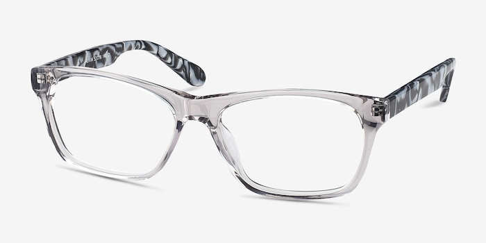 Alivia Gray/Clear Acetate Eyeglass Frames from EyeBuyDirect, Angle View