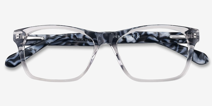 Alivia Gray/Clear Acetate Eyeglass Frames from EyeBuyDirect, Closed View