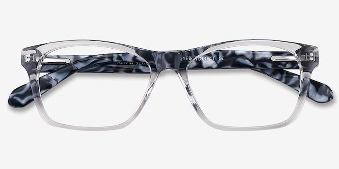 Alivia Gris/Transparent Acétate Montures de Lunettes d'EyeBuyDirect, Vue Rapprochée