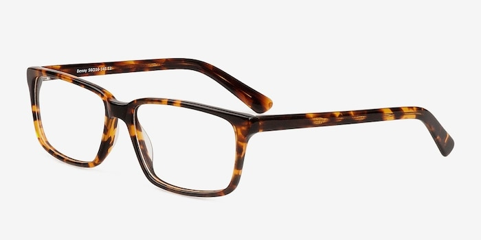 Denny Brown/Tortoise Acetate Eyeglass Frames from EyeBuyDirect, Angle View