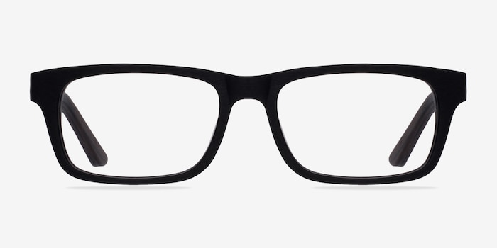 Emory Black Wood-texture Eyeglass Frames from EyeBuyDirect, Front View