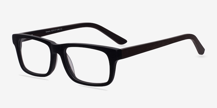 Emory Black Acetate Eyeglass Frames from EyeBuyDirect, Angle View