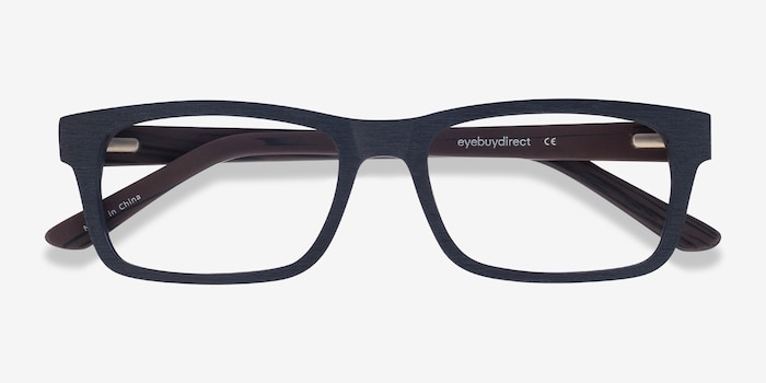 Emory Black Wood-texture Eyeglass Frames from EyeBuyDirect, Closed View