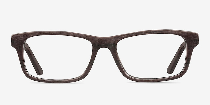 Emory Coffee Wood-texture Eyeglass Frames from EyeBuyDirect, Front View