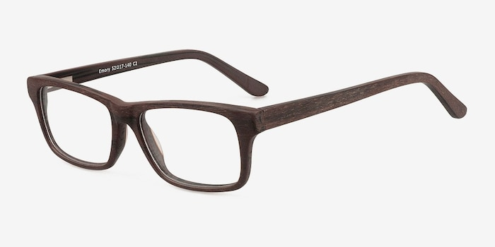 Emory Coffee Wood-texture Eyeglass Frames from EyeBuyDirect, Angle View