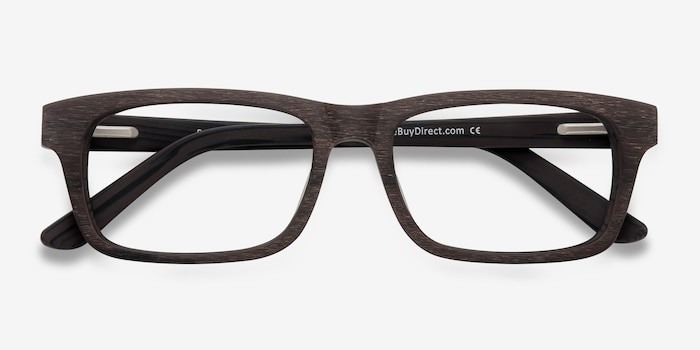 Emory Coffee Wood-texture Eyeglass Frames from EyeBuyDirect, Closed View