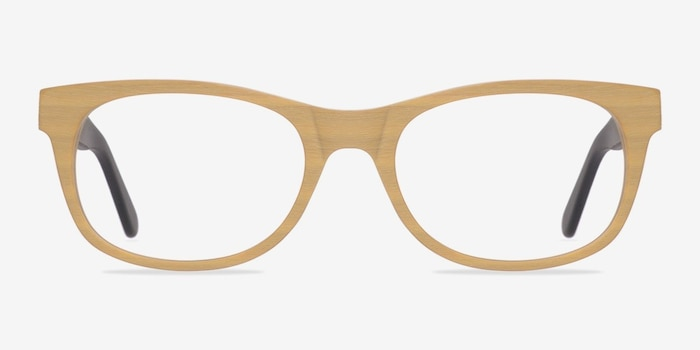 Panama Wood Wood-texture Eyeglass Frames from EyeBuyDirect, Front View