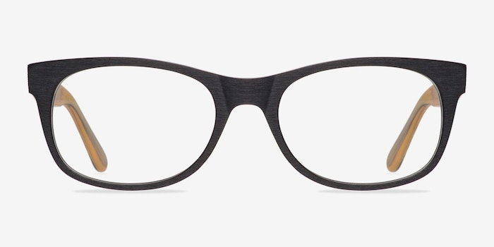 Panama Black Wood-texture Eyeglass Frames from EyeBuyDirect, Front View