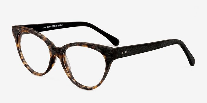 Jane Birkin Brown/Tortoise Wood-texture Eyeglass Frames from EyeBuyDirect, Angle View
