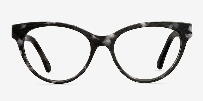 Jane Birkin Gray Tortoise Wood-texture Eyeglass Frames from EyeBuyDirect, Front View