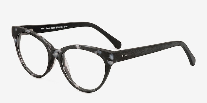 Jane Birkin Gray Tortoise Wood-texture Eyeglass Frames from EyeBuyDirect, Angle View