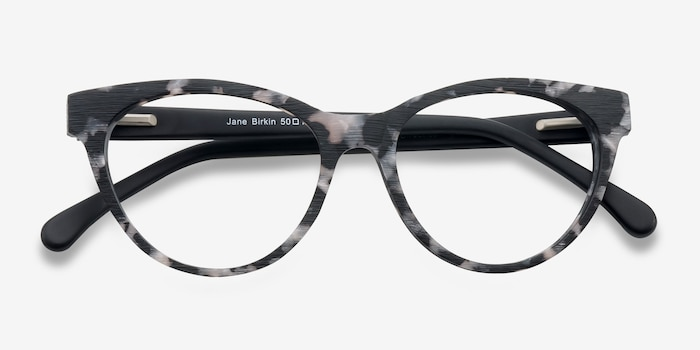 Jane Birkin Gray Tortoise Wood-texture Eyeglass Frames from EyeBuyDirect, Closed View