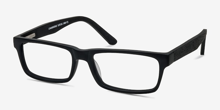 Cambridge Black Acetate Eyeglass Frames from EyeBuyDirect, Angle View