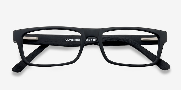 Cambridge Black Acetate Eyeglass Frames from EyeBuyDirect, Closed View