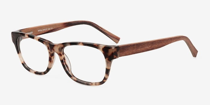 Willow Brown/Tortoise Wood-texture Montures de Lunettes d'EyeBuyDirect, Vue d'Angle
