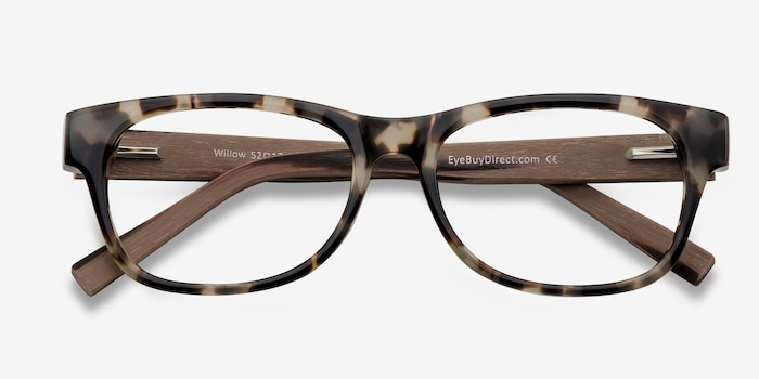 Willow Brown/Tortoise Wood-texture Eyeglass Frames from EyeBuyDirect, Closed View