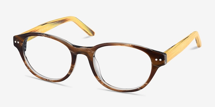 Cape Cod Brown Wood-texture Eyeglass Frames from EyeBuyDirect, Angle View