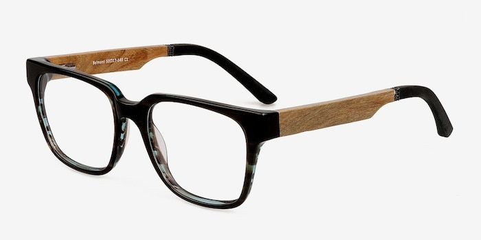 Belmont Coffee Wood-texture Eyeglass Frames from EyeBuyDirect, Angle View