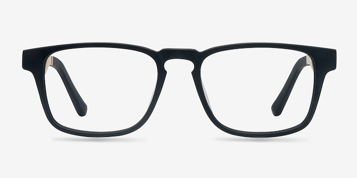 Lincoln Black Acetate Eyeglass Frames from EyeBuyDirect, Front View