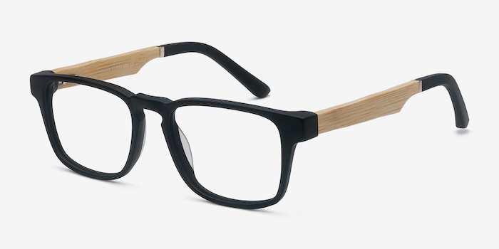 Lincoln Black Acetate Eyeglass Frames from EyeBuyDirect, Angle View