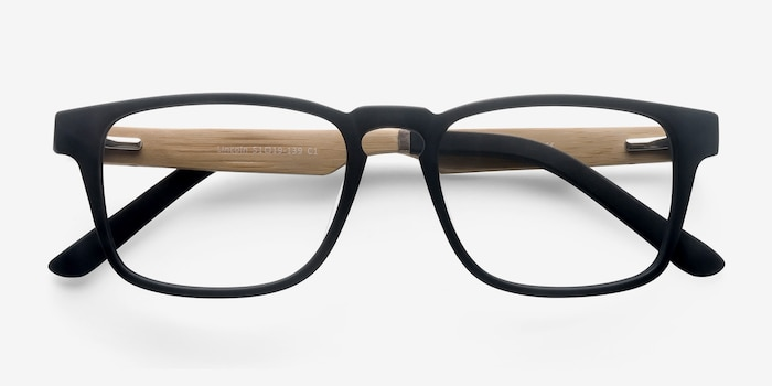 Lincoln Black Acetate Eyeglass Frames from EyeBuyDirect, Closed View