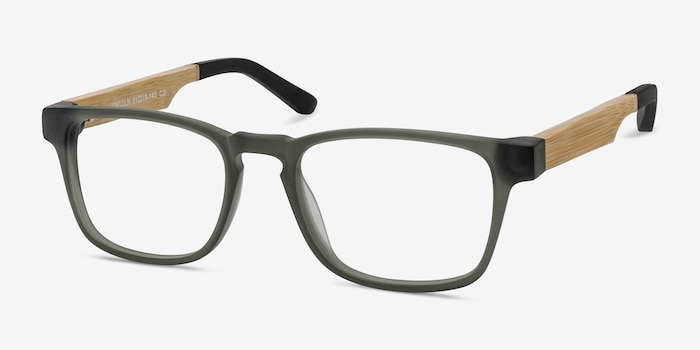 Lincoln Gray Acetate Eyeglass Frames from EyeBuyDirect, Angle View