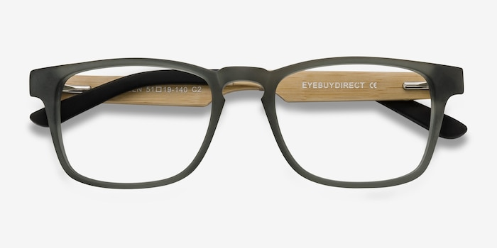 Lincoln Gray Acetate Eyeglass Frames from EyeBuyDirect, Closed View