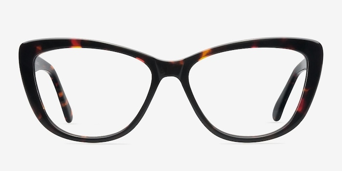 Charlotte Tortoise Acetate Eyeglass Frames from EyeBuyDirect, Front View