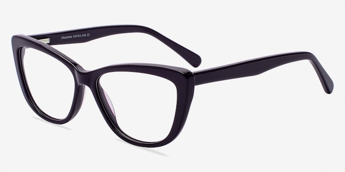 Charlotte Purple Acetate Eyeglass Frames from EyeBuyDirect, Angle View