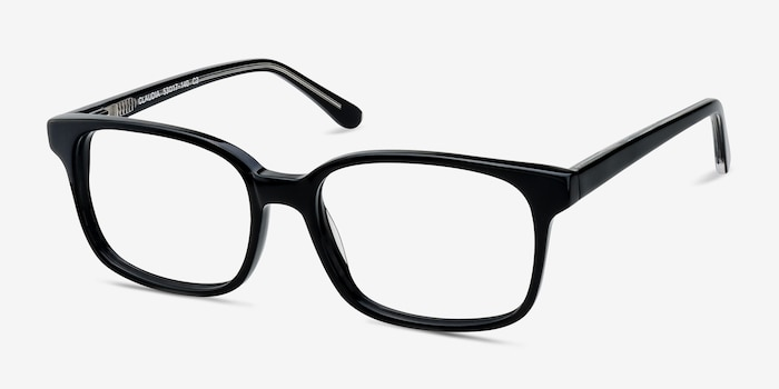 Claudia Black Acetate Eyeglass Frames from EyeBuyDirect, Angle View
