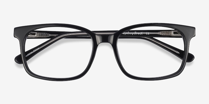 Claudia Black Plastic Eyeglass Frames from EyeBuyDirect, Closed View