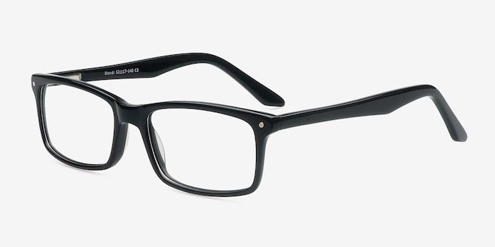 Mandi Black Acetate Eyeglass Frames from EyeBuyDirect, Angle View