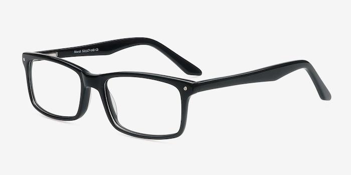 Mandi Noir Acétate Montures de Lunettes d'EyeBuyDirect, Vue d'Angle