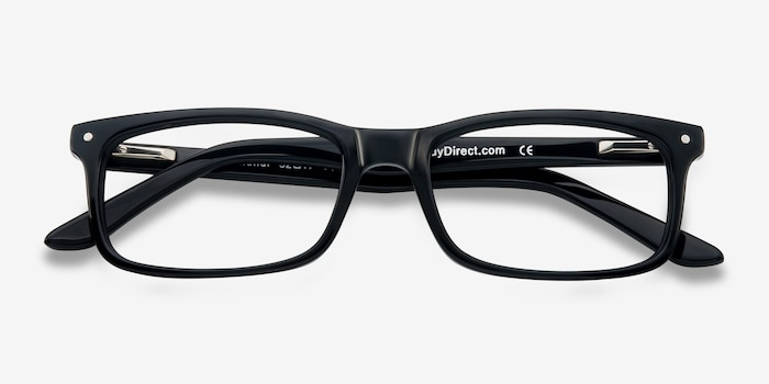 Mandi Black Acetate Eyeglass Frames from EyeBuyDirect, Closed View
