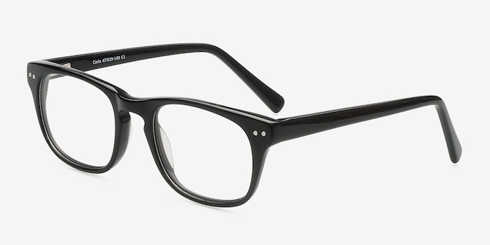 Carla Black Acetate Eyeglass Frames from EyeBuyDirect, Angle View