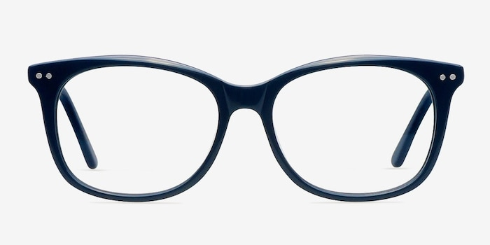 Brittany Navy Acetate Eyeglass Frames from EyeBuyDirect, Front View