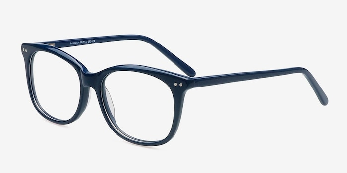 Brittany Navy Acetate Eyeglass Frames from EyeBuyDirect, Angle View