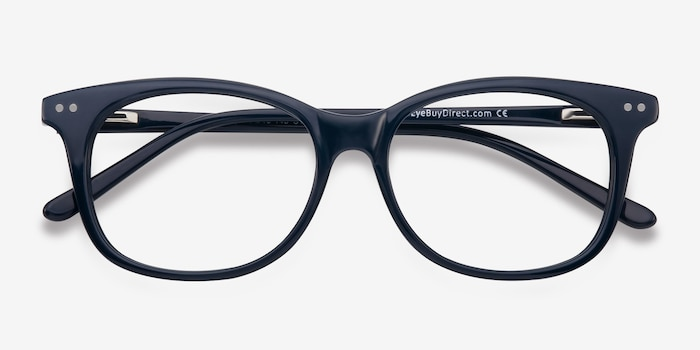 Brittany Navy Acetate Eyeglass Frames from EyeBuyDirect, Closed View