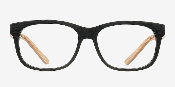 White Pine Black Acetate Eyeglass Frames from EyeBuyDirect, Front View